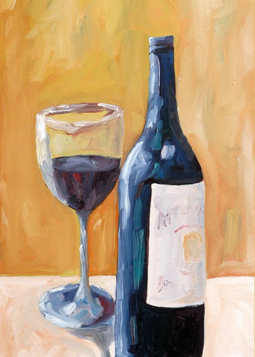 Wine Greeting Card featuring the painting Wine Bottle Still Life by Todd Bandy