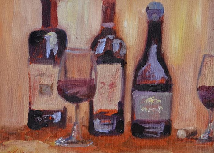 Wine Greeting Card featuring the painting Wine Bottle Trio by Donna Tuten