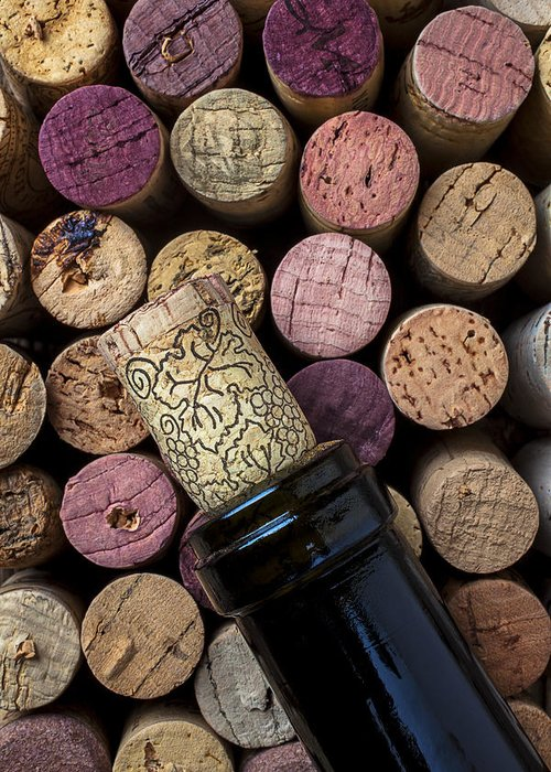 Corks Greeting Card featuring the photograph Wine Bottle With Corks by Garry Gay