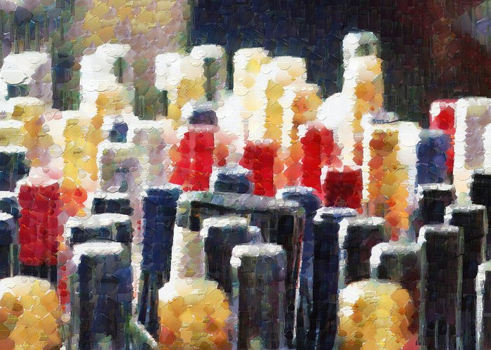 Many Greeting Card featuring the digital art Wine Bottles Painting by Magomed Magomedagaev