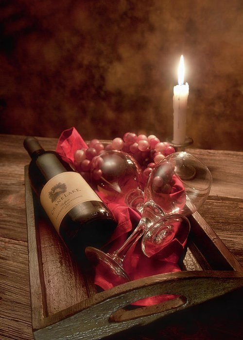 Alcohol Greeting Card featuring the photograph Wine By Candle Light I by Tom Mc Nemar