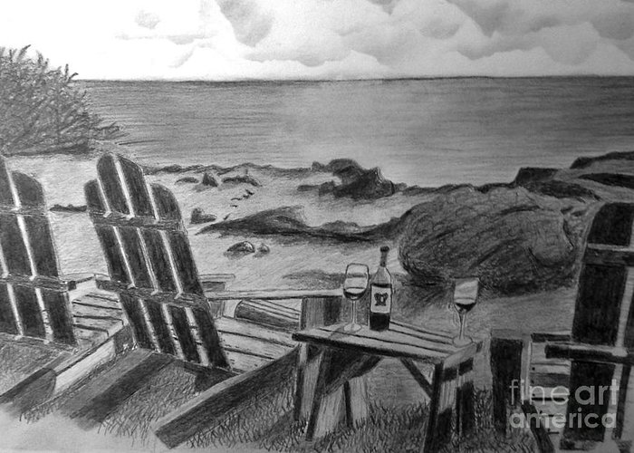 Pencil Greeting Card featuring the painting Wine By The Sea by Nancy McNamer