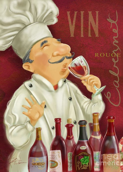 Waiter Greeting Card featuring the mixed media Wine Chef I by Shari Warren