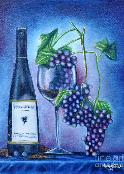 Wine Greeting Card featuring the painting Wine Dance by Ruben Archuleta - Art Gallery