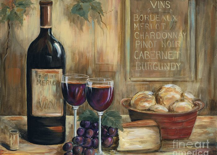 Wine Greeting Card featuring the painting Wine For Two by Marilyn Dunlap