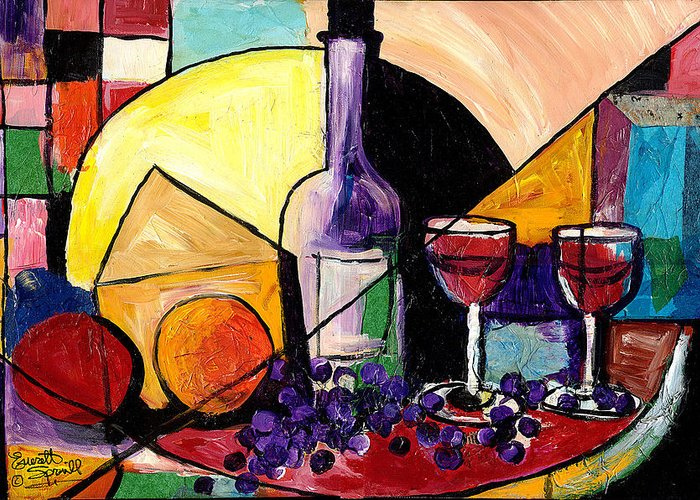 Greeting Card featuring the painting Wine Fruit And Cheese For Two by Everett Spruill