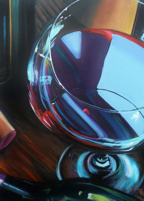 Wine Greeting Card featuring the painting Wine Reflections by Donna Tuten