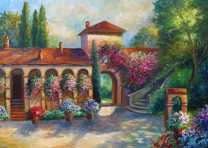 Art Work Greeting Card featuring the painting Winery In Tuscany by Regina Femrite