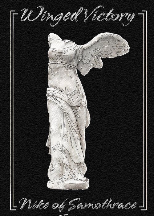Statue Greeting Card featuring the painting Winged Victory - Nike Of Samothrace by Jerrett Dornbusch