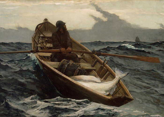 Winslow Homer Greeting Card featuring the painting Winslow Homer The Fog Warning by Winslow Homer
