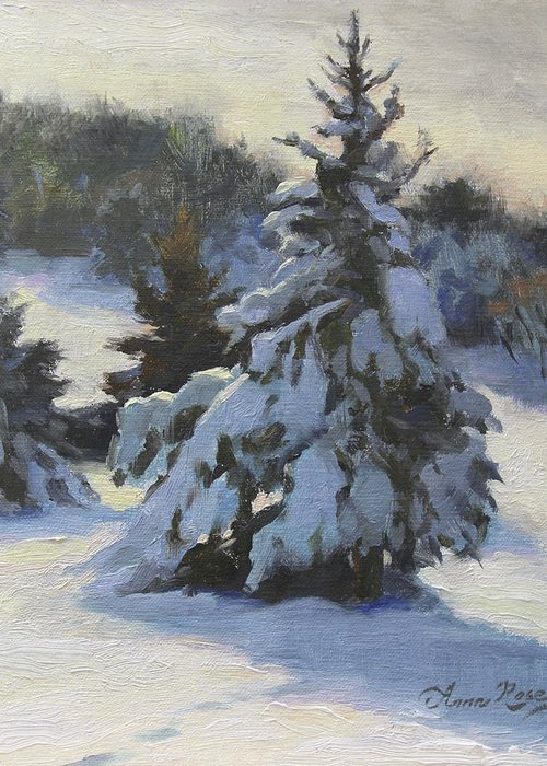 Trees Greeting Card featuring the painting Winter Adornments by Anna Rose Bain