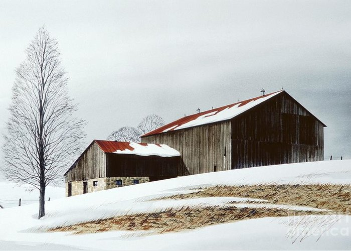 Landscape Greeting Card featuring the painting Winter Barn by Michael Swanson