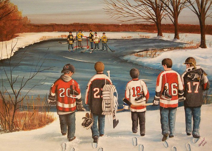 Hockey Greeting Card featuring the painting Winter Classic - 2010 by Ron Genest