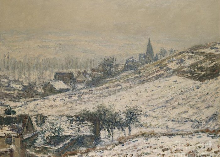 French Greeting Card featuring the painting Winter In Giverny by Claude Monet