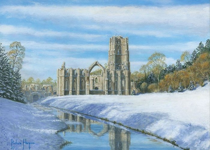 Landscape Greeting Card featuring the painting Winter Morning Fountains Abbey Yorkshire by Richard Harpum