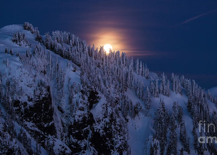 Moon Greeting Card featuring the photograph Winter Mountain Moonrise by Mike Reid