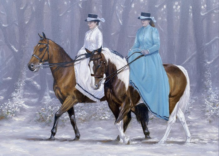 Horse Paintings Greeting Card featuring the painting Winter Ride by John Silver