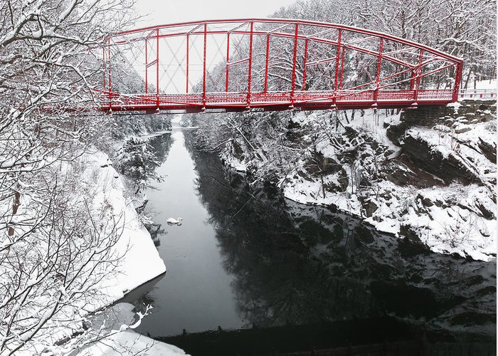 Historic Bridge Greeting Card featuring the photograph Winter Solitude Square by Bill Wakeley