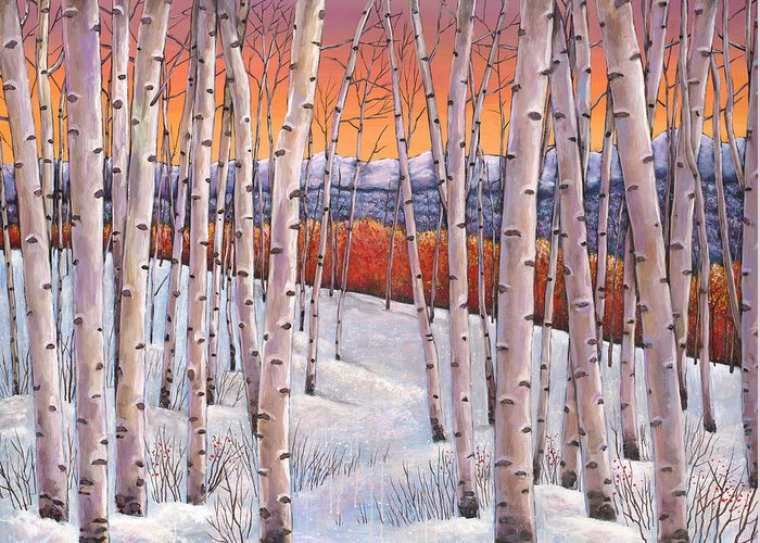 Autumn Aspen Greeting Card featuring the painting Winter's Dream by Johnathan Harris