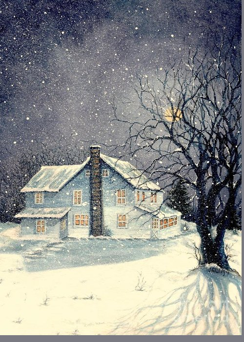 Old Greeting Card featuring the painting Winter's Silent Night by Janine Riley