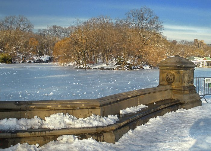 Central Park Greeting Card featuring the photograph Wintery Afternoon At Bathsheba Terrace by Muriel Levison Goodwin