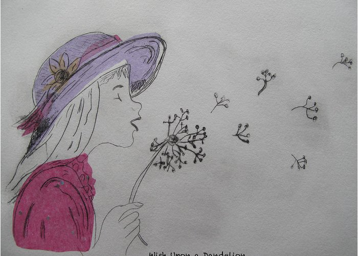 Drypoint Greeting Card featuring the drawing Wish Upon A Dandelion In Colour by Jennifer Schwab