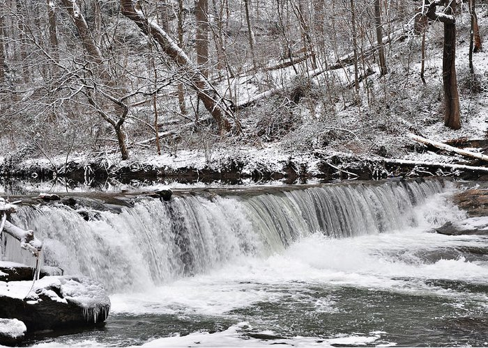 Wissahickon Greeting Card featuring the photograph Wissahickon Waterfall In Winter by Bill Cannon