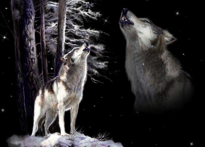 Original Wildlife Acrylic Painting By Gina Femrite Greeting Card featuring the painting Wolf Howling Memory by Regina Femrite