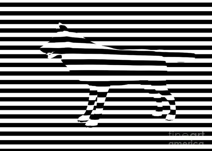 Abstract Greeting Card featuring the painting Wolf Optical Illusion by Pixel Chimp