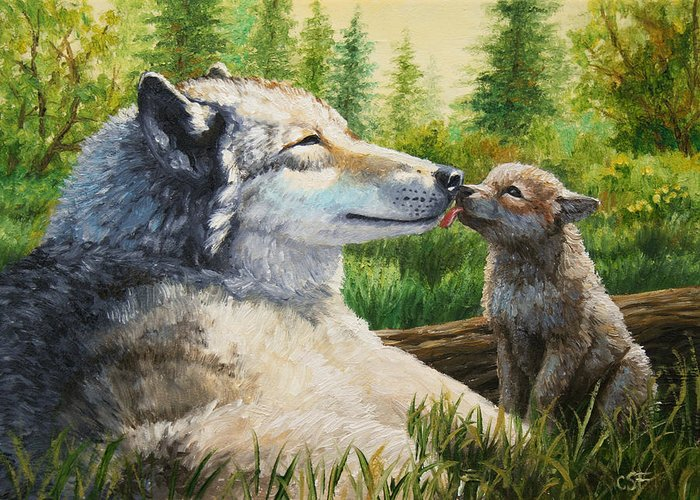 Wolf Greeting Card featuring the painting Wolf Painting - Spring Kisses by Crista Forest