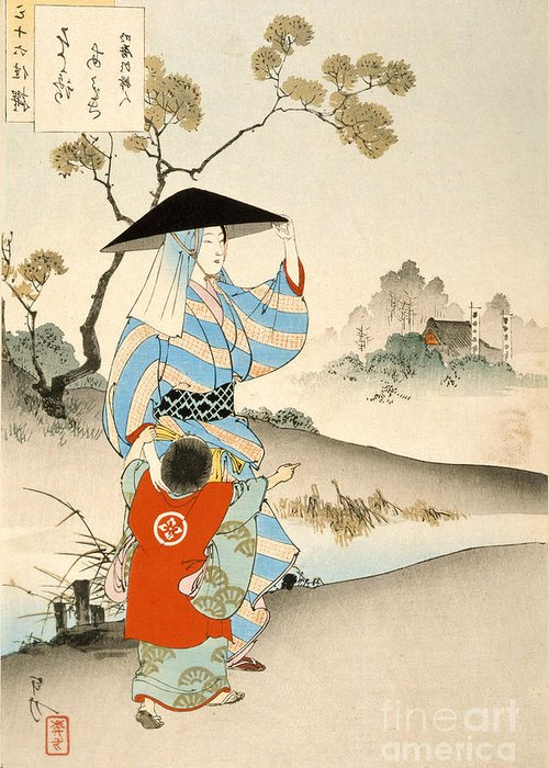 Japanese Greeting Card featuring the painting Woman And Child by Ogata Gekko