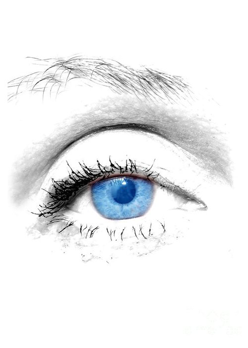 Art Greeting Card featuring the photograph Woman Blue Eye by Michal Bednarek