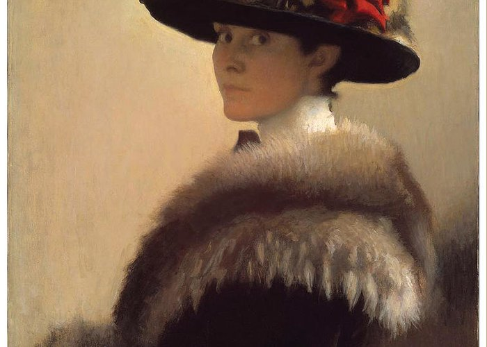 Gretchen Woodman Rogers Greeting Card featuring the painting Woman In A Fur Hat by Gretchen Woodman Rogers