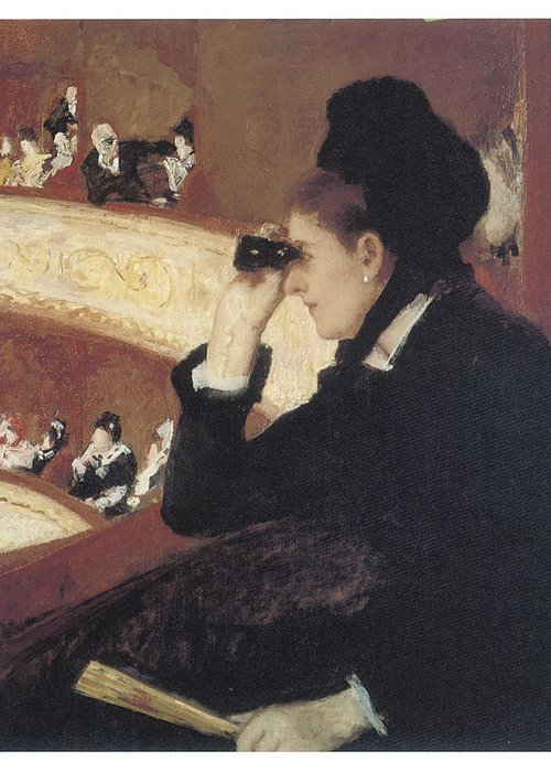 Mary Cassatt Greeting Card featuring the painting Woman In Black At The Opera by Mary Cassatt