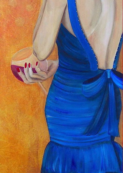 Woman Greeting Card featuring the painting Woman In Blue by Debi Starr