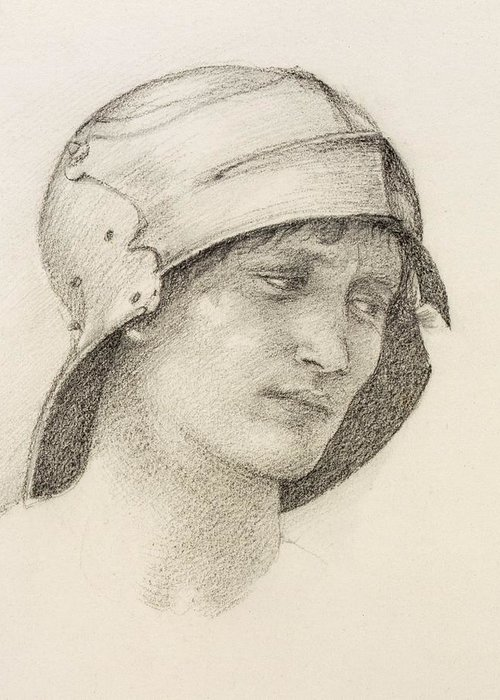 Drawing Greeting Card featuring the drawing Woman In Hat, Detail From A Sketchbook by Sir Edward Coley Burne-Jones