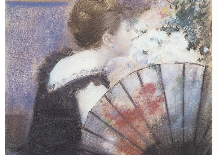 Jean-louis Forain Greeting Card featuring the painting Woman Smelling Flowers by Jean-Louis Forain