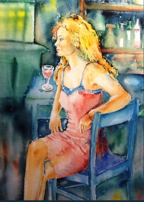 Woman Greeting Card featuring the painting Woman Waiting by Trudi Doyle