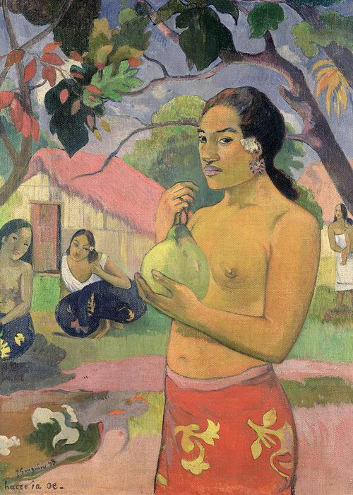 Ea Haere Ia Oe Greeting Card featuring the painting Woman With Mango by Paul Gauguin