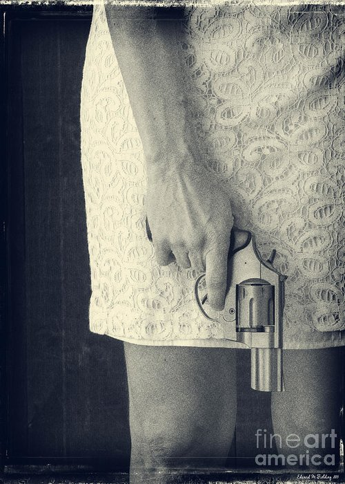 Pistol Greeting Card featuring the photograph Woman With Revolver 60 X 45 Custom by Edward Fielding