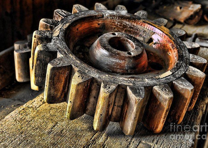 Cog Greeting Card featuring the photograph Wood Gears by Olivier Le Queinec