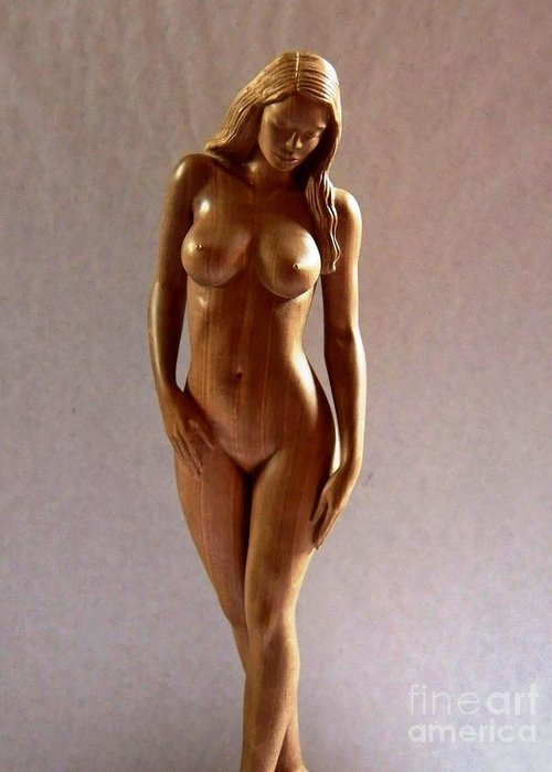 Naked Woman Wood Sculpture Greeting Card featuring the sculpture Wood Sculpture Of Naked Woman - Front View by Carlos Baez Barrueto
