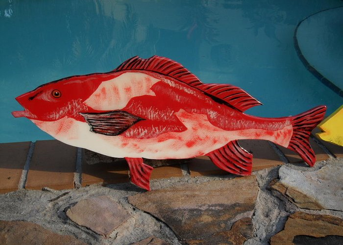 Fish Greeting Card featuring the mixed media Wooden Red Snapper by Val Oconnor