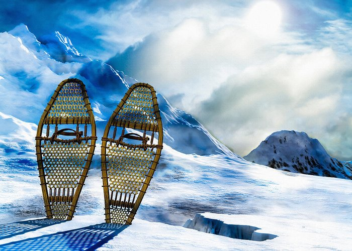Winter Greeting Card featuring the photograph Wooden Snowshoes by Bob Orsillo
