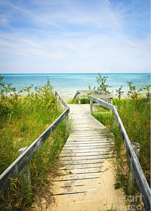 Beach Greeting Card featuring the photograph Wooden Walkway Over Dunes At Beach by Elena Elisseeva