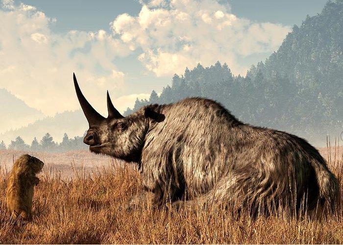 Rhino Greeting Card featuring the digital art Woolly Rhino And A Marmot by Daniel Eskridge