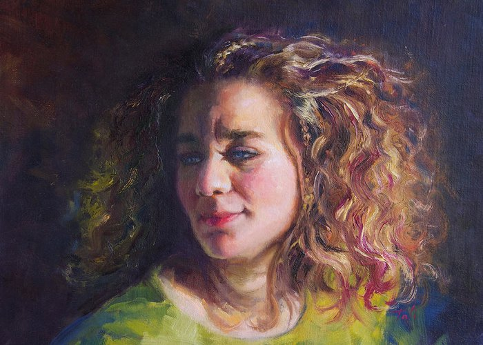 Oil Greeting Card featuring the painting Work In Progress - Self Portrait by Talya Johnson