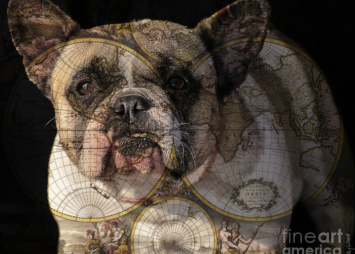 Dog Greeting Card featuring the digital art World Domination by Judy Wood