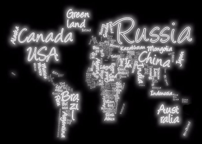 World Map In Text Neon Light Greeting Card featuring the digital art World Map In Text Neon Light by Dan Sproul