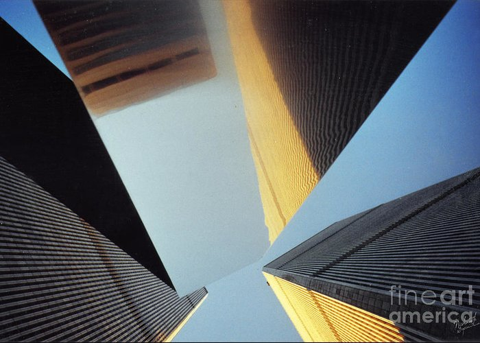 Wtc Greeting Card featuring the photograph World Trade Center Towers And The Ideogram 1971-2001 by Nishanth Gopinathan
